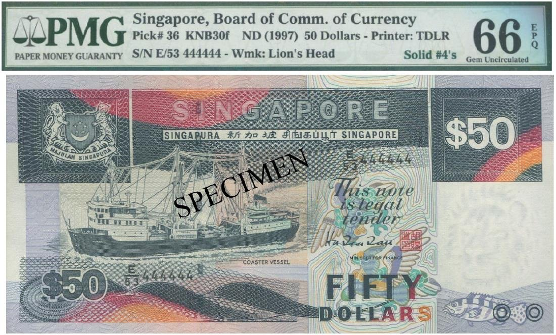 "SG, Ship, $50, solid ""4"". PMG UNC 66 EPQ"
