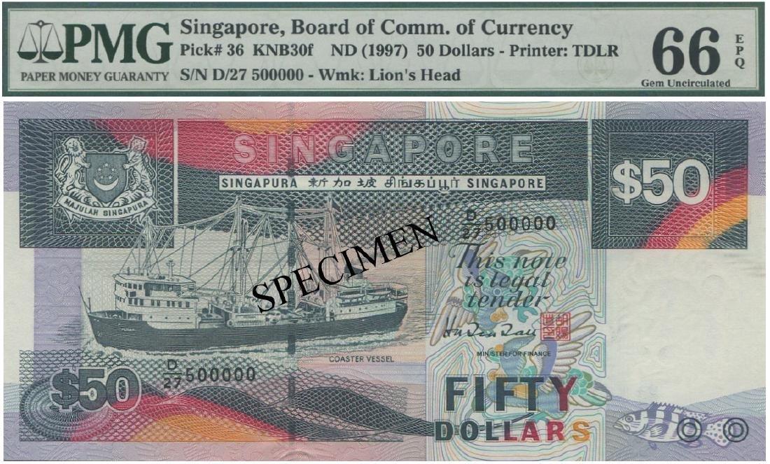 SG, Ship, $50, D/27 500000. PMG UNC 66 EPQ