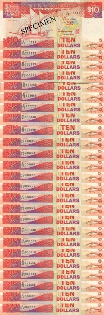 SG, Ship, $10, D/45 Golden number 25pcs. AU/UNC