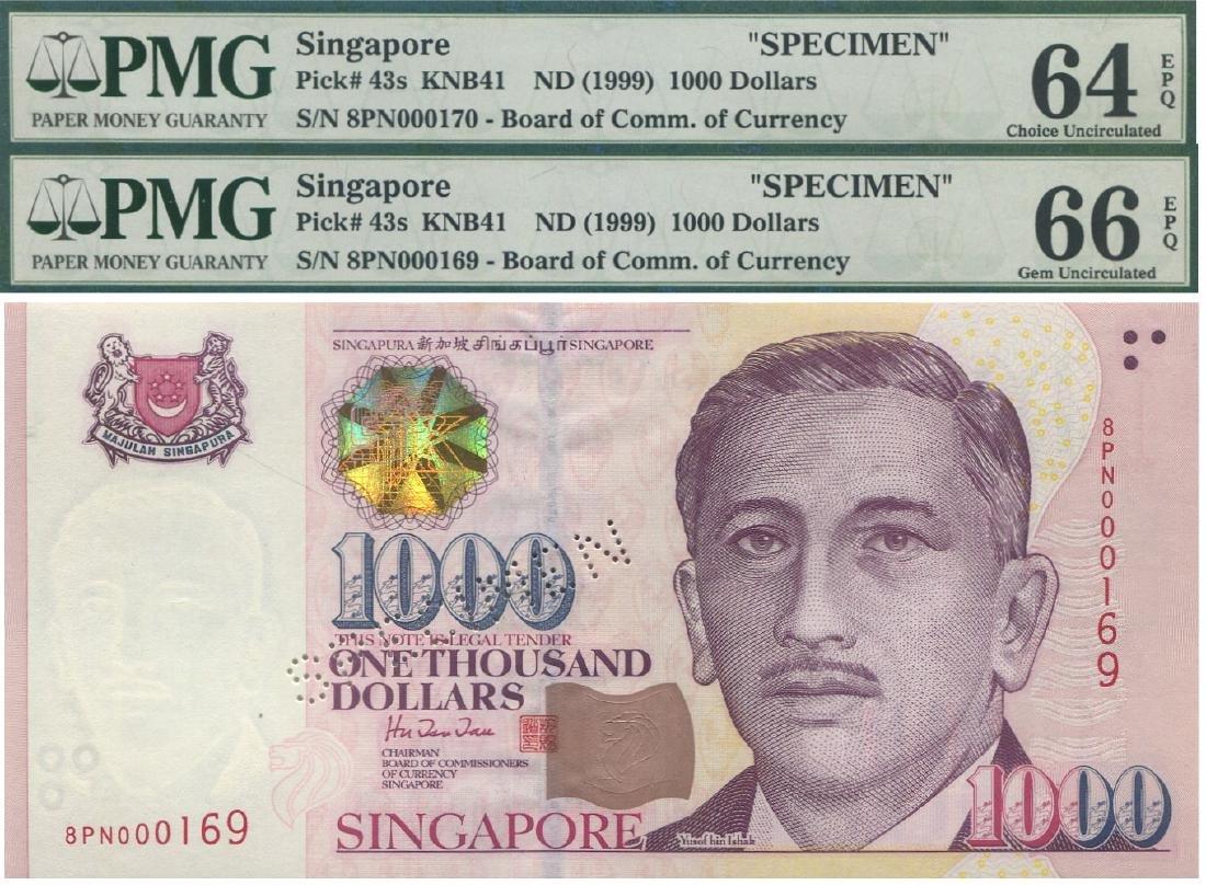 SG, Presidential, $1000, Specimen note, pair. PMG