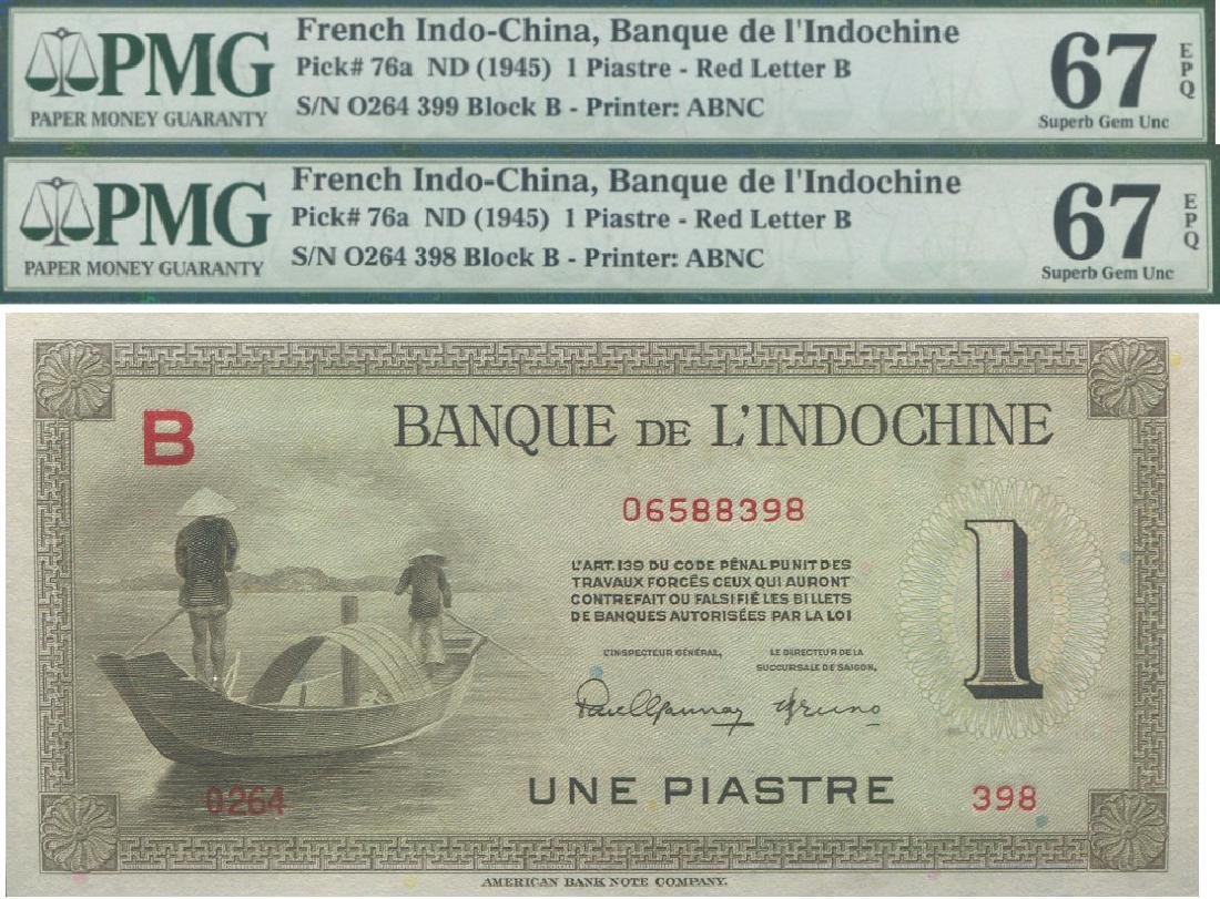 French Indo-China,1945, 1 Piastre, pair, possibly not