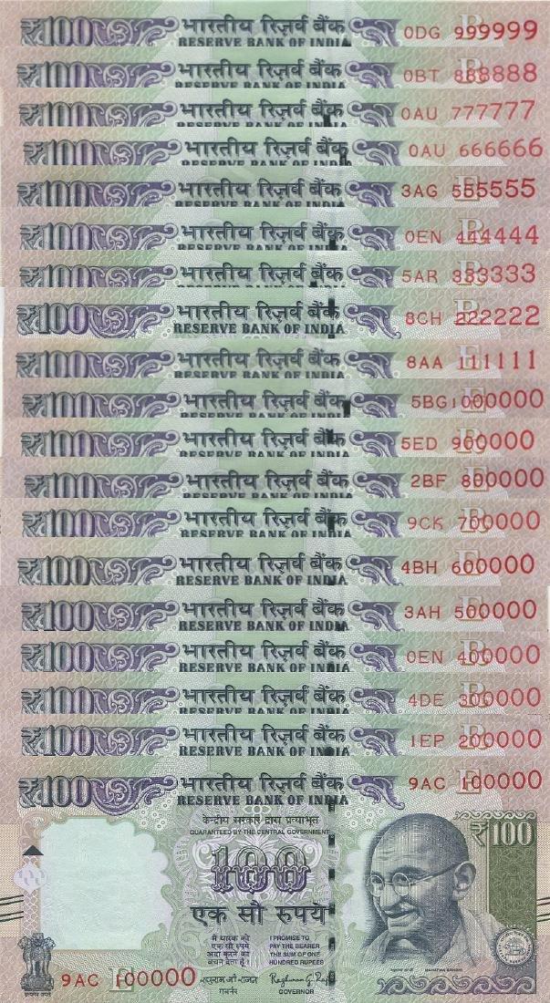 India, 2015, 100 Rupees, Total 19pcs. AU-UNC