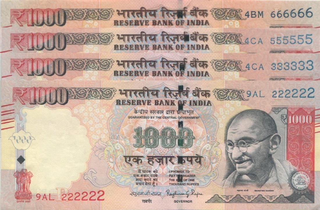 India, 2015, 1000 Rupees,  Total 4pcs. AU-UNC