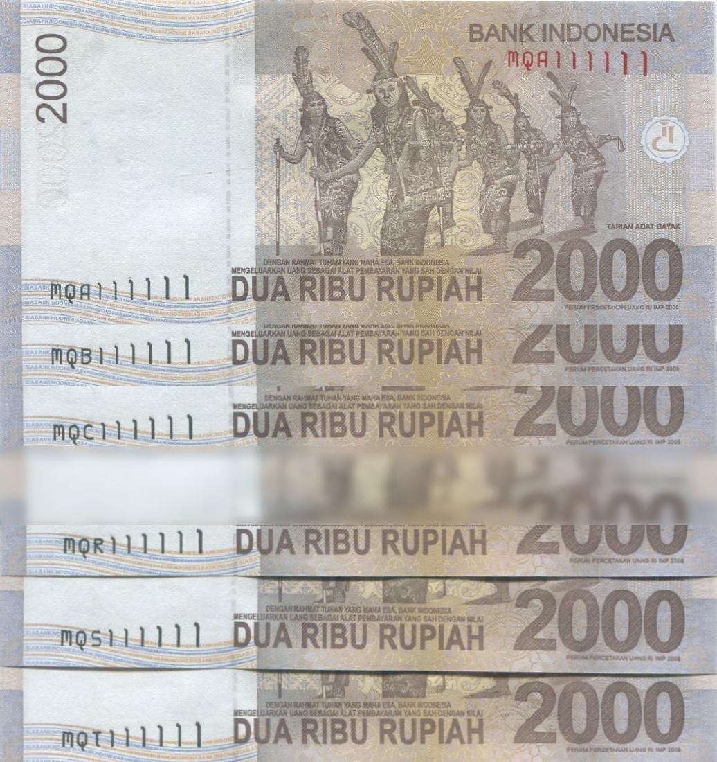 "Indonesia, 2015, 2000 Rupiah solid ""1"". Total 20pcs."