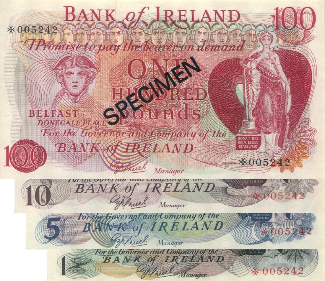Ireland, 1, 5, 10 & 100 pounds, specimen. Total 4pcs.