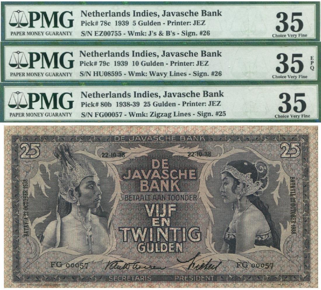 Netherlands Indies, 1939, PMG  3pcs