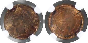 Straits Settlements, 1889, Bronze ¼ c. NGC MS 62 RB
