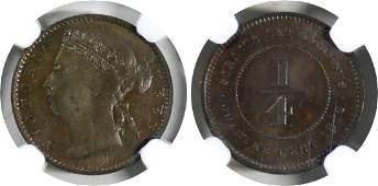 Straits Settlements, 1872H, Copper ¼ c. NGC MS 63 BN
