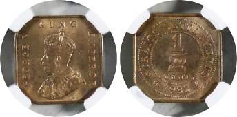 Straits Settlements, 1932, Bronze ½ c. NGC MS 65 RB