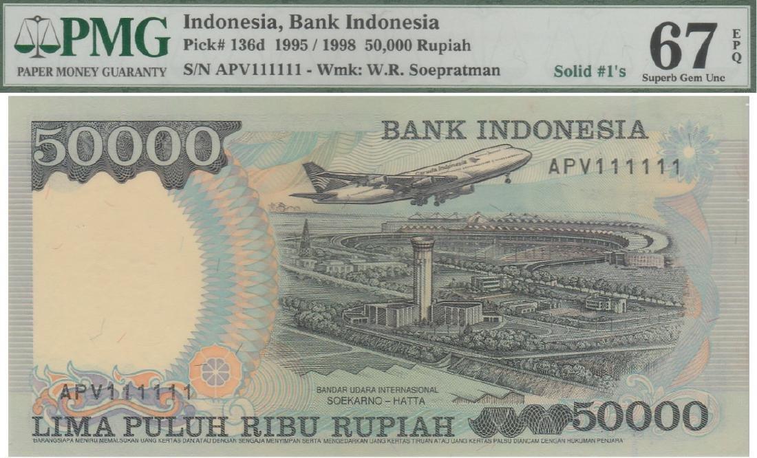 "Indonesia, 1995, Sueharto, 50000 Rupiah, solid ""1"""