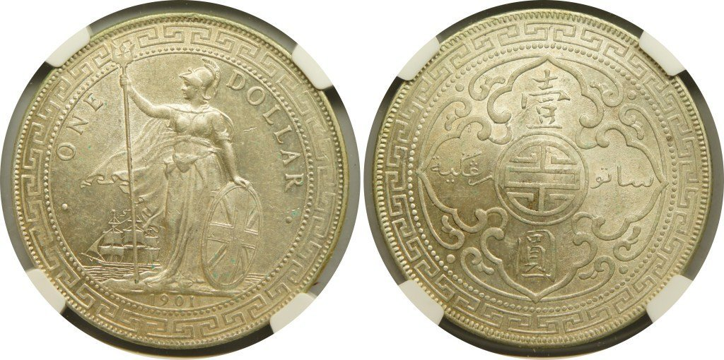 British Trade Dollars, 1901B (KM#T5) NGC Au55 英&