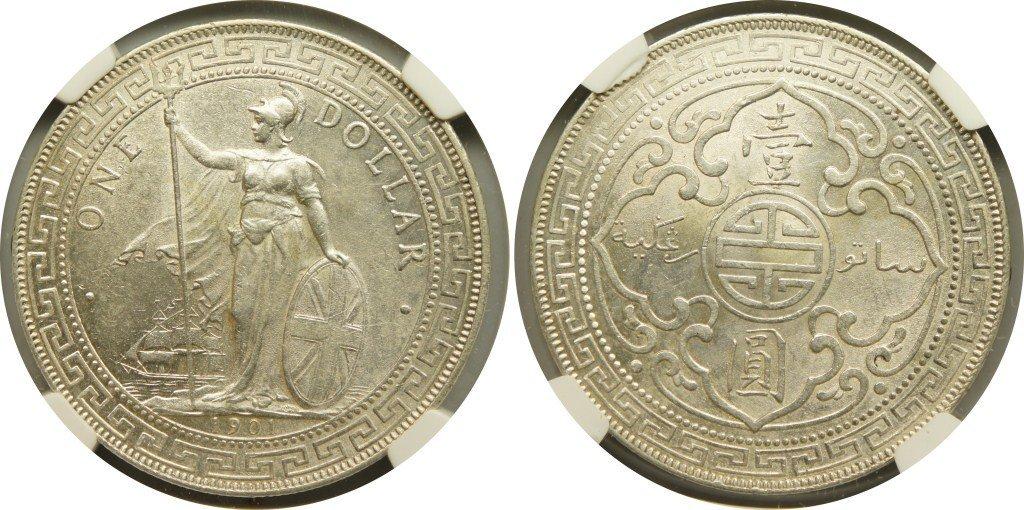 British Trade Dollars, 1901B (KM#T5) NGC Au58 英&
