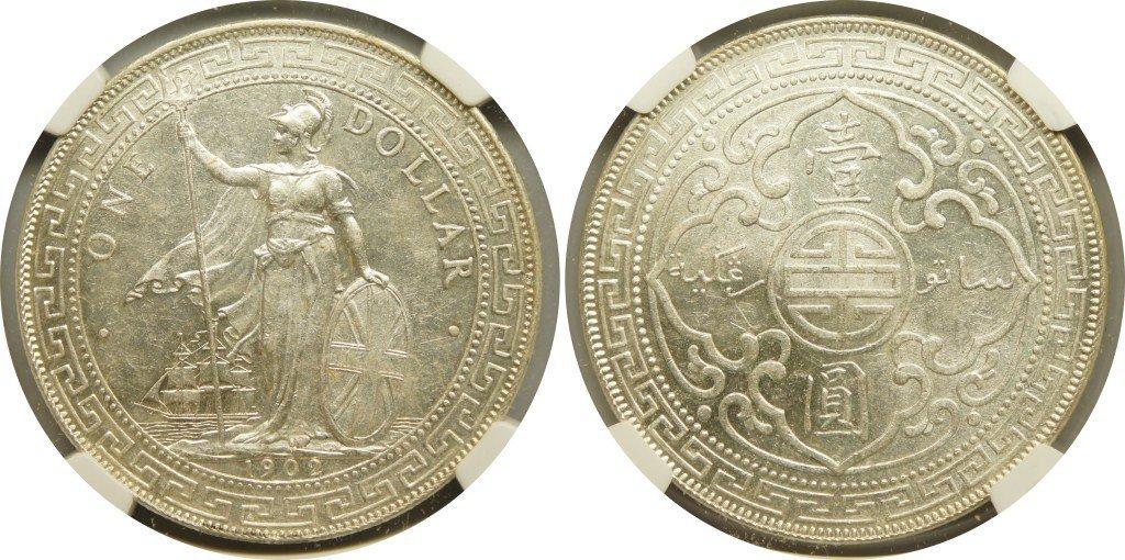 British Trade Dollars, 1902B (KM#T5) NGC Au Details &#3