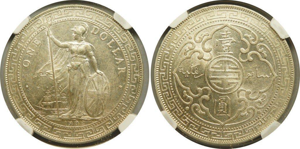 British Trade Dollars, 1902B (KM#T5) NGC Au55 英&