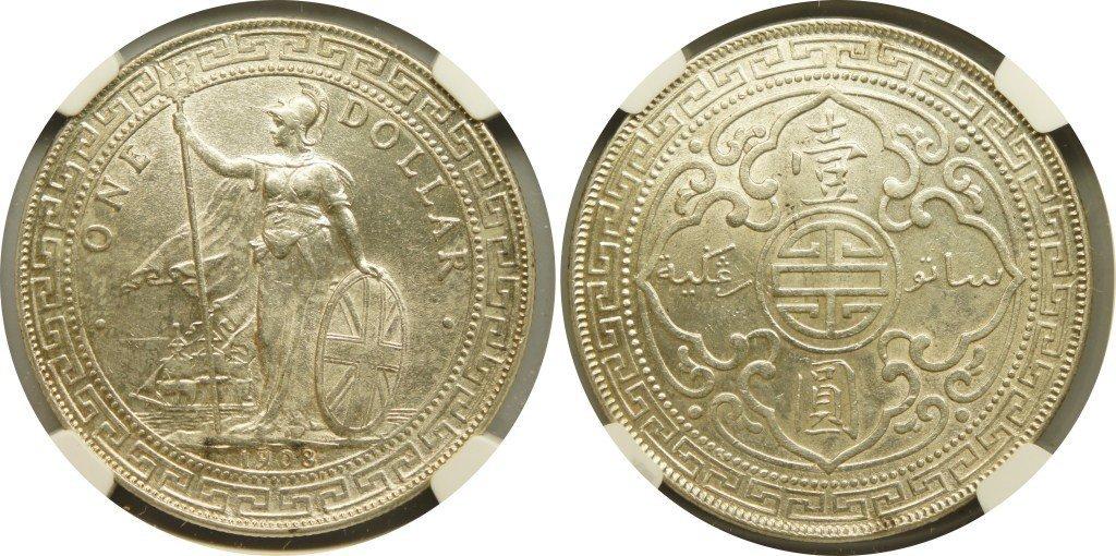 British Trade Dollars, 1908B (KM#T5) NGC MS62 英&