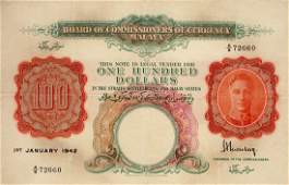 Malaya $100, A/6 72660, King Groger.  F/VF