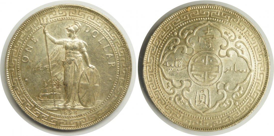 British Trade Dollar, Silver 1898, Au