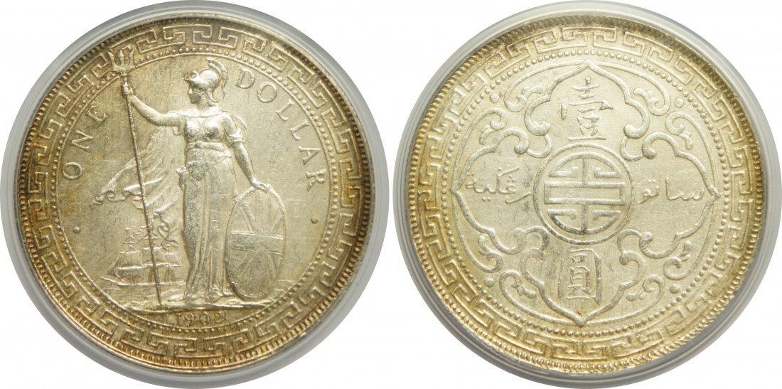 British Trade Dollar, 1902C, KM#T5, PCGS Au Details