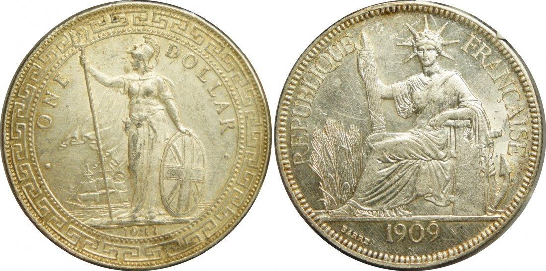 British Trade Dollar, Silver 1911 (EF) and IndoChina,
