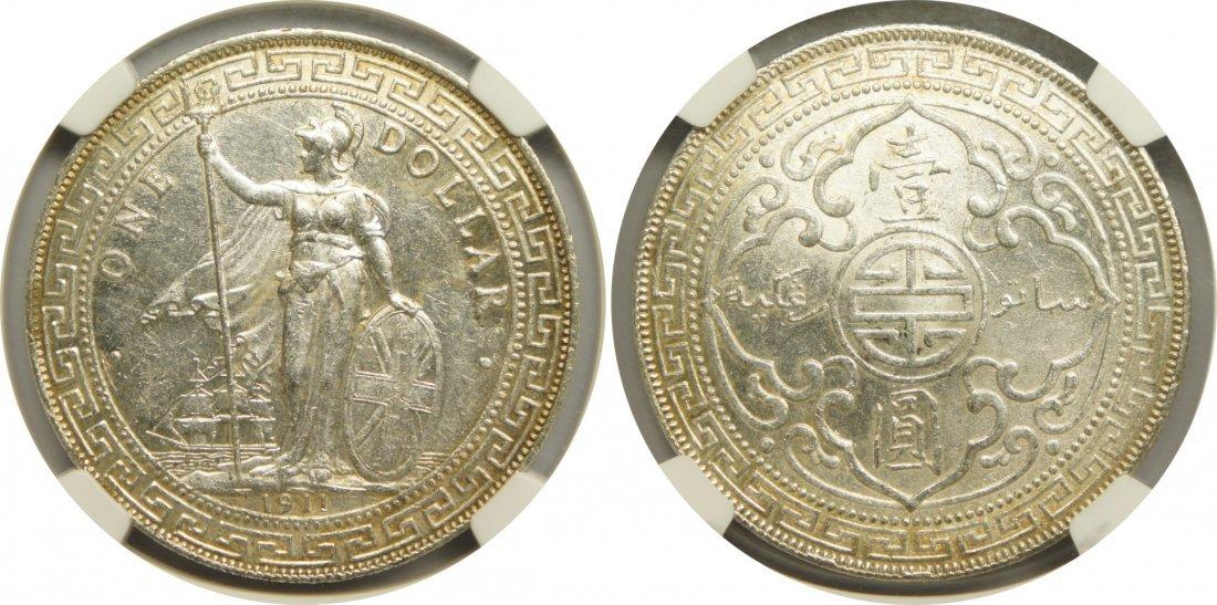 Great British Trader Dollar, 1911B. NGC Au58