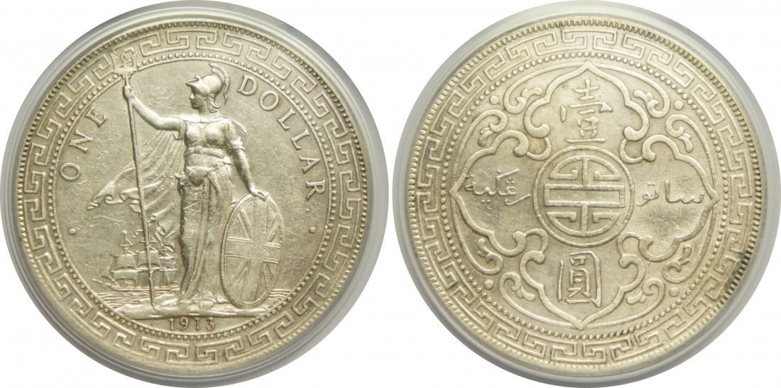 British Trade Dollar, 1913B, PCGS XF Details cleaning