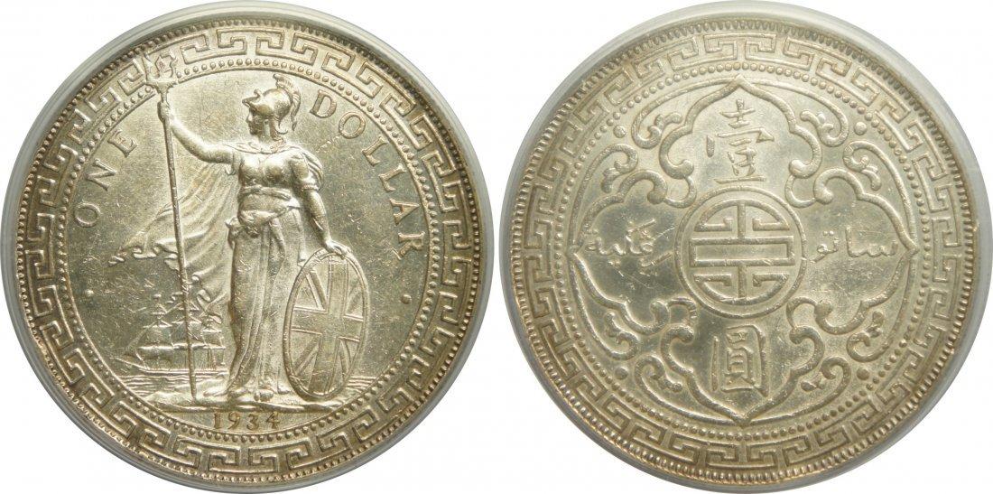 British Trade Dollar Silver 1934B. PCGS Genuine