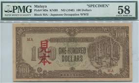 Malaya / Japanese Occupation, ND (1945), $100 �Rubber