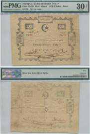 Johor, Private Paper currency, 1878 $1 note. Issued by