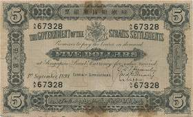 Straits Settlements, $5, 1898. SN A/5 67328, PMG VF 20