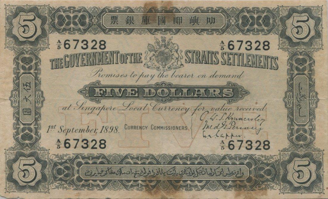Straits Settlements, $5, 1898. SN A/5 67328, PMG VF 20