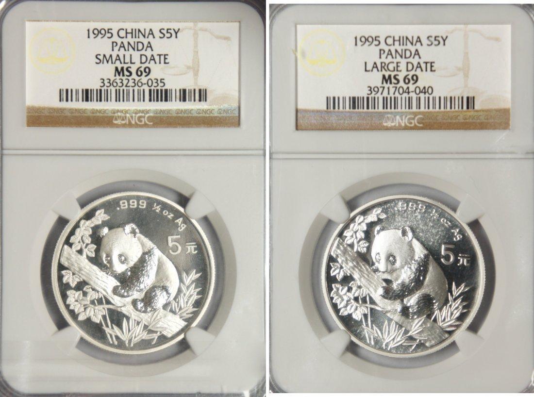 "Silver, 1995 Panda,  5 Yuan, ""Large Date"" and ""Small"