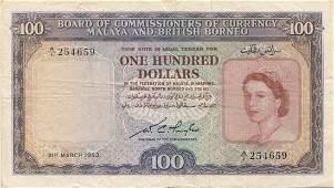 Malaya  British Borneo 1953 100 VF