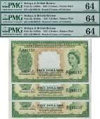 Malaya  British Borneo 1953 5 consecutive 3pcs