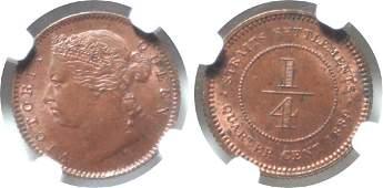 Straits Settlements, 1889, Copper ¼ c. NGC MS 63 BN