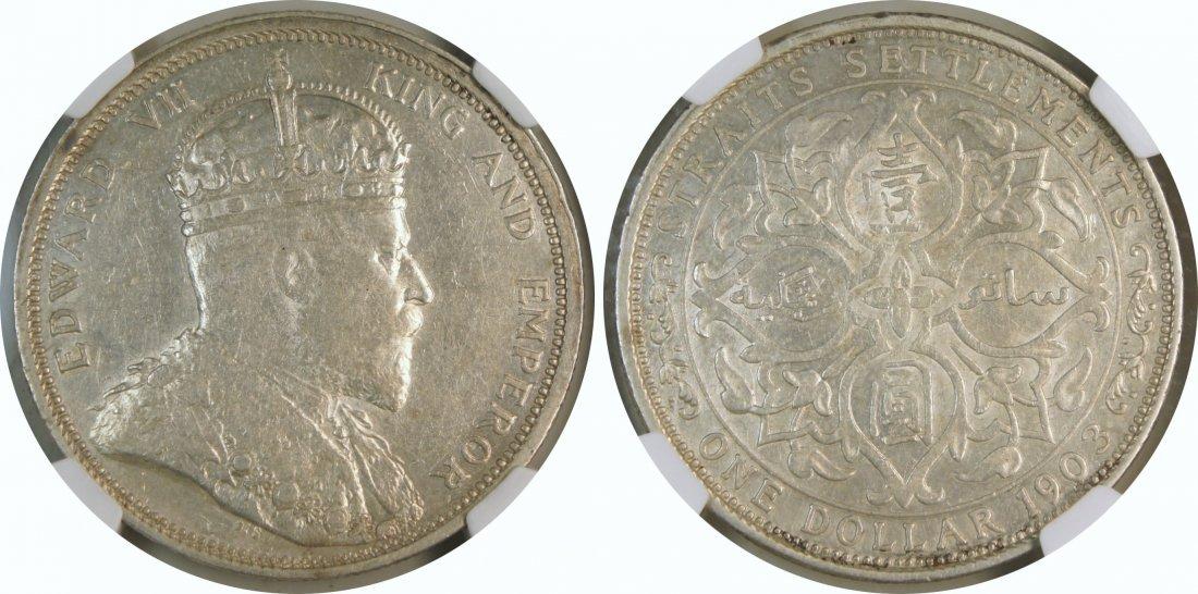 "Straits Settlements, 1903B (raised ""B""), Silver dollar."