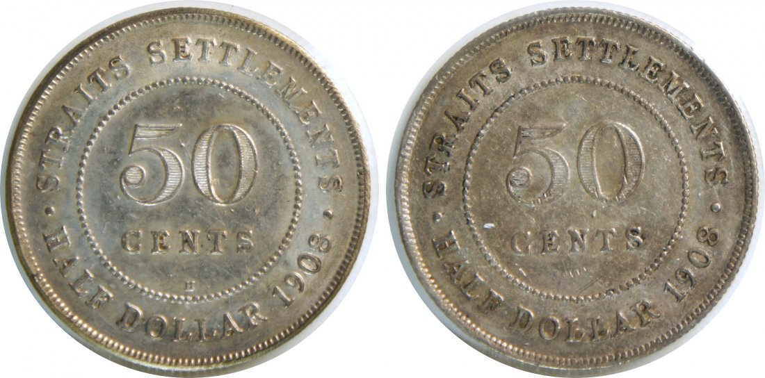 Straits Settlements, 1908 and 1908H, Silver 50c. 2pcs.