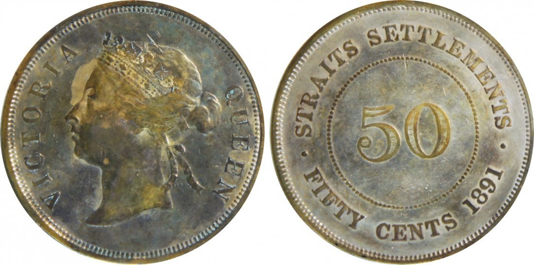 Straits Settlements, 1891, Silver 50c. GEF