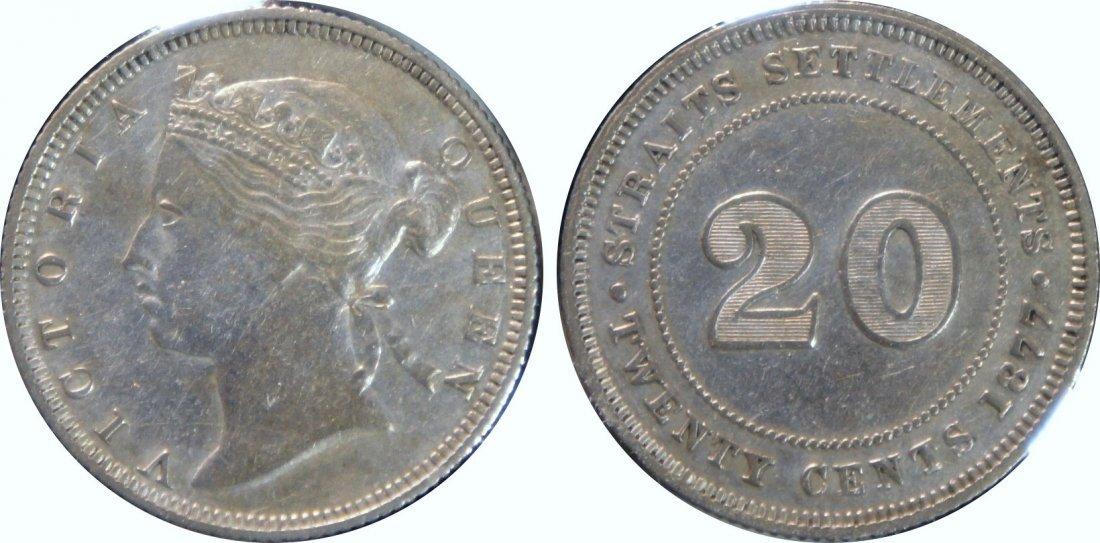 Straits Settlements, 1877, Silver 20c. GVF. Scarce