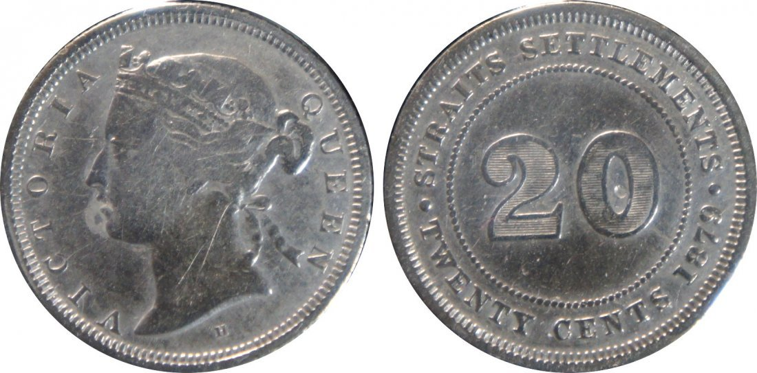 Straits Settlements, 1879H, Silver 20c. F