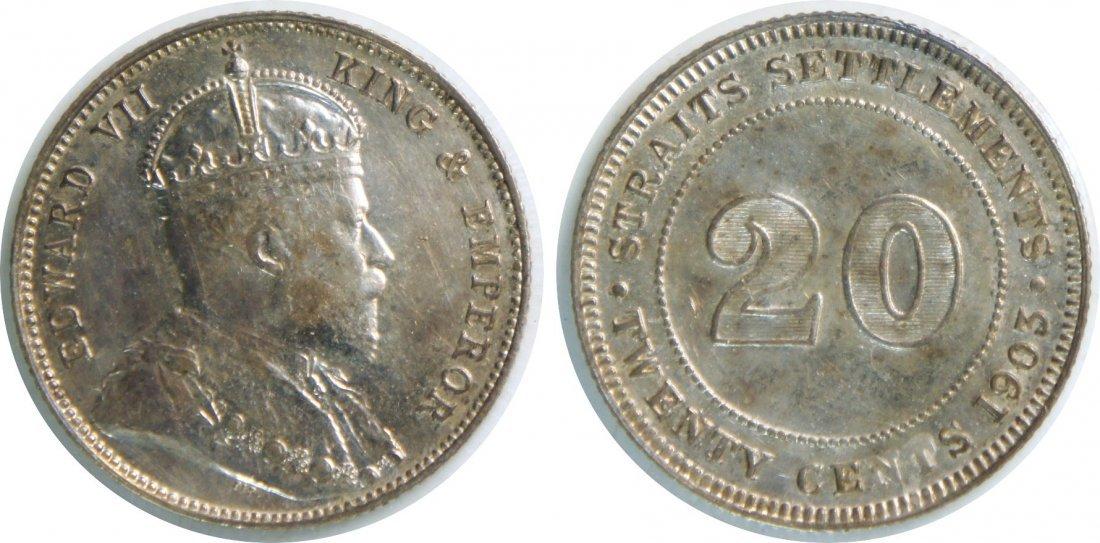 Straits Settlements, 1903, Silver 20c. AU