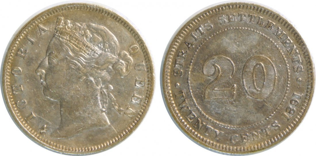 Straits Settlements, 1891, Silver 20c. AU