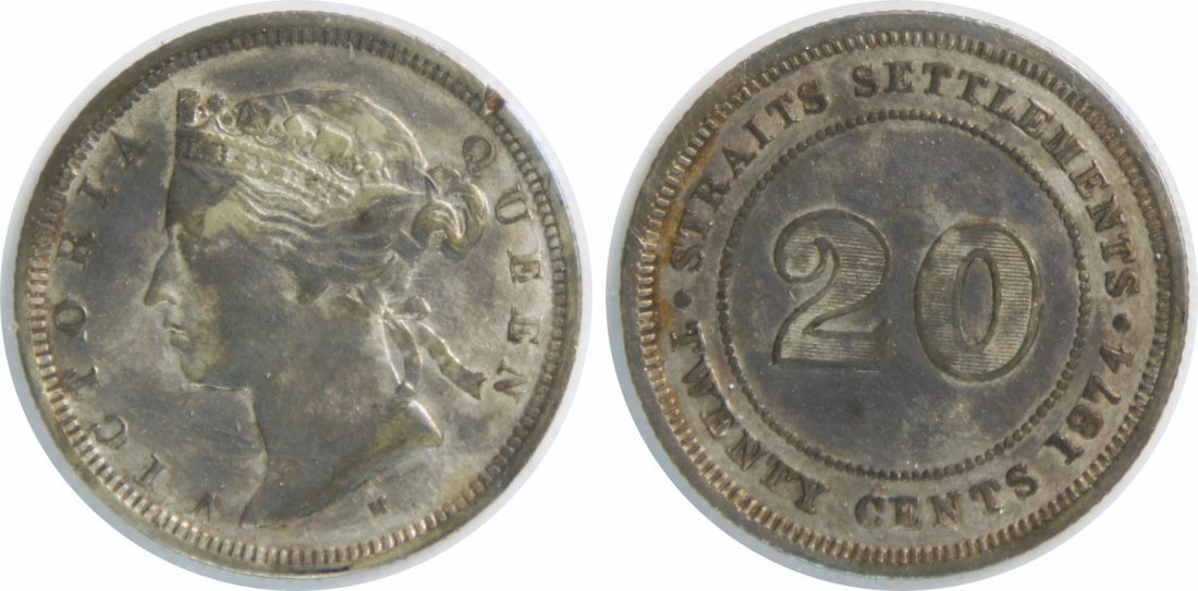Straits Settlements, 1874H, Silver 20c. EF