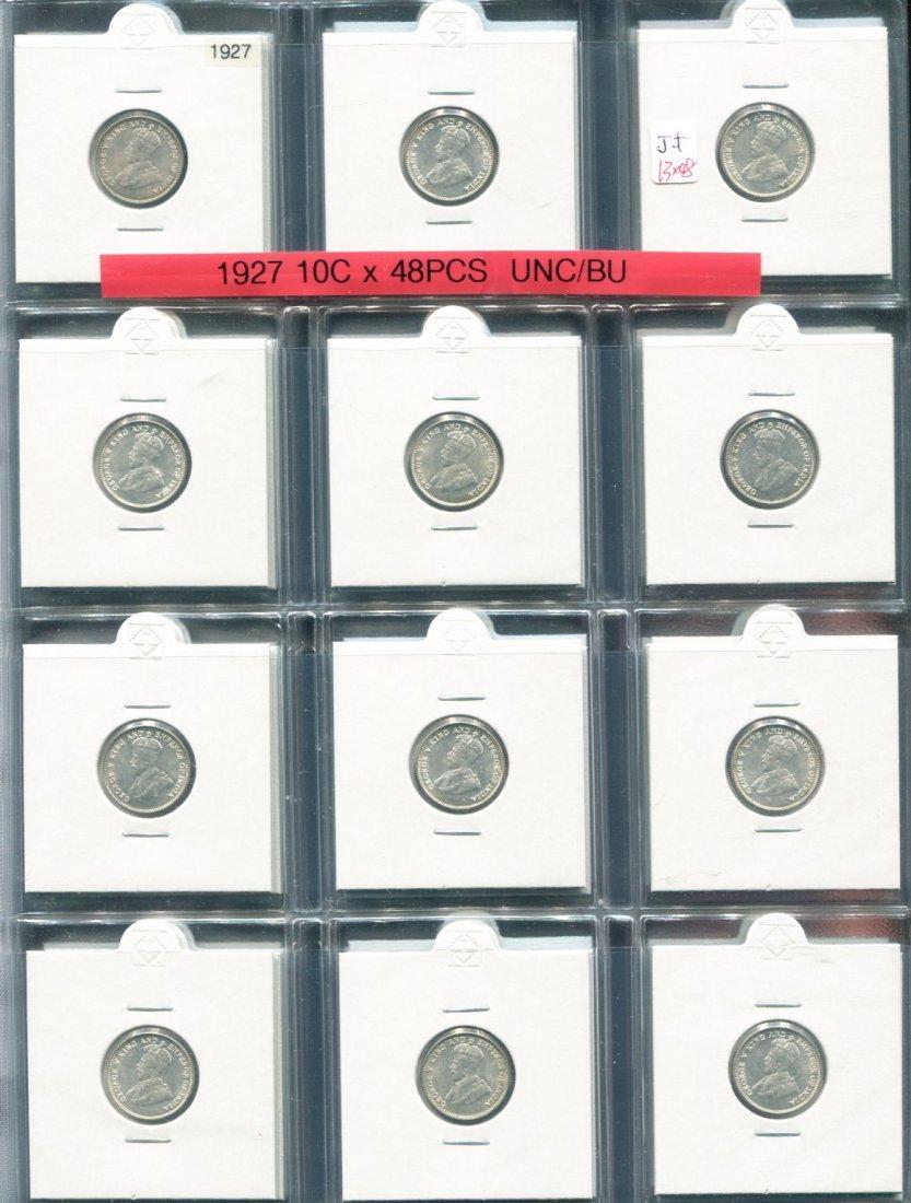 Straits Settlements, 1927, Silver 10c, UNC-BU. 48pcs