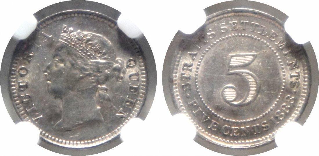 Straits Settlements, 1888, Silver 5c. NGC AU 58
