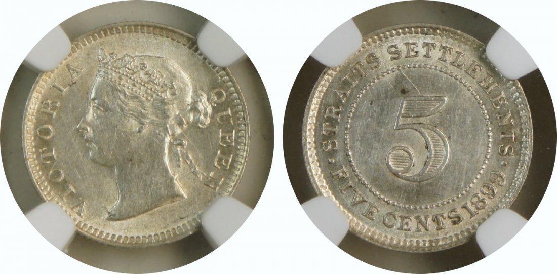 Straits Settlements, 1899, Silver 5c. NGC UNC-Details