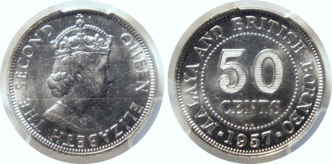 Malaya & British Borneo, 1957KN, Proof C-N 50c,