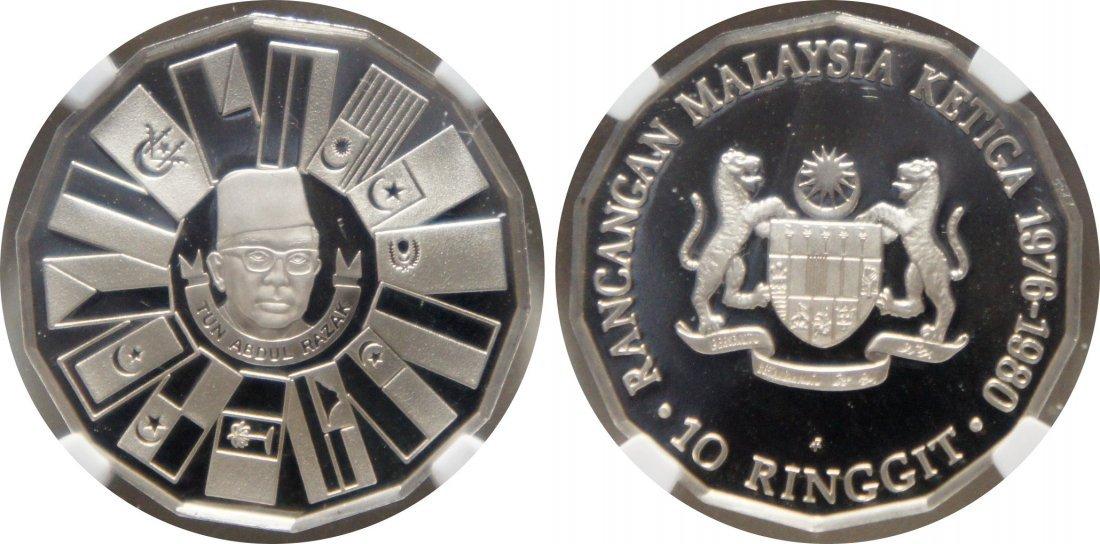 Malaysia, 1976, Silver RM 10. NGC PF 70 Ultra Cameo
