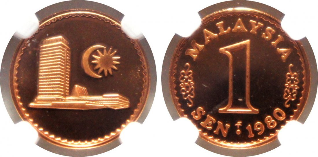 Malaysia, 1980 FM, Bronze  1 Sen Proof. NGC PF 70 Ultra