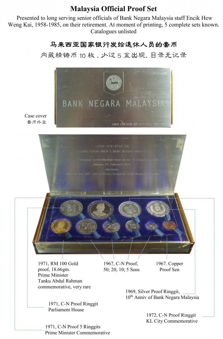 Malaysia Official Proof Set, 5 complete sets known.
