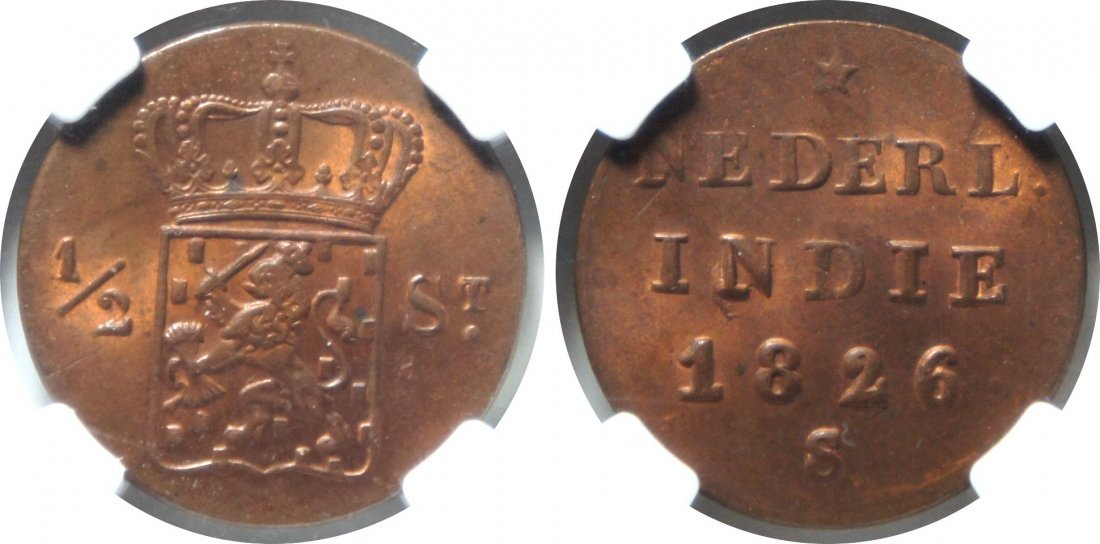 Netherland East Indies, 1826, ½ Stuiver. NGC MS 64 RB